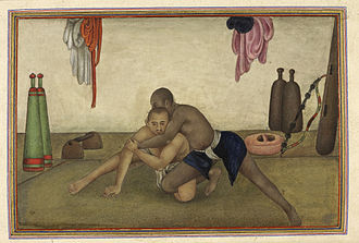Pehlwani - Illustration of two wrestlers (1825)