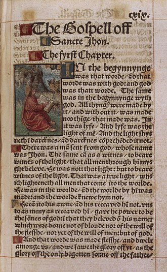 Tyndale Bible - The beginning of the Gospel of John from a copy of the 1526 edition of William Tyndale's New Testament at the British Library