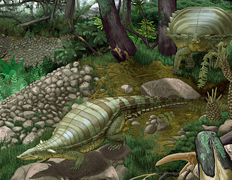 Aetosaur - Two Typothorax in their environment