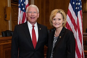 Roger Wicker - U.S. Senator Roger F. Wicker meets with U.S. Senator Cindy Hyde-Smith of Mississippi in the Dirksen Senate Office building.