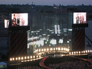 "Vertigo Tour - U2 performs ""City of Blinding Lights"" in their home town of Dublin in June 2005."