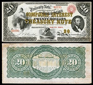 Bills of credit - Two-year $20 1864 compound interest treasury note