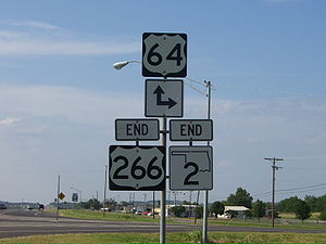 U.S. Route 266 - The eastern end of US-266 and SH-2 near Warner.
