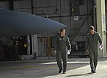 USAF Married Couple Fighter Pilots Carey & Blaine Jones became First husband & wife to fly two-ship of F-15Cs in alert practice scramble mission together (070606-F-7832T-027).jpg
