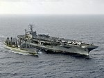 USNS Pawcatuck (T-AO-108) replenishing USS Abraham Lincoln (CVN-72) in the Atlantic Ocean on 9 October 1990 (6464103).jpeg
