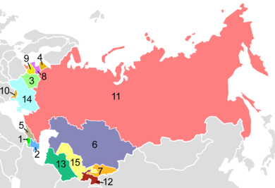In 1991, the Soviet Union dissolved into fifteen independent republics, including Russia (labeled 11) USSR Republics Numbered Alphabetically.png