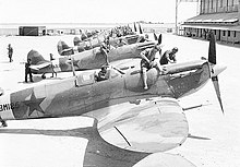 a black and white photograph of a row of single-engined aircraft with stars on their sides