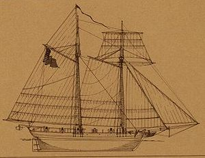Sail plan of the USS Hamilton