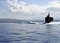 USS Helena departs Greece. (10043177593).jpg