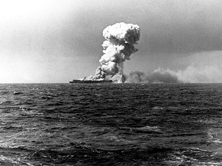 The light aircraft carrier USS Princeton afire, east of Luzon, 24 October 1944 USS Princeton (CVL-23) 1944 10 24 1.jpg