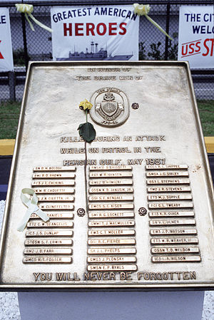 USS Stark incident - The memorial plaque for the killed American sailors at Mayport, Florida