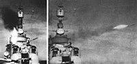 USS Wilkinson (DL-5) launching Weapon Alpha in 1956