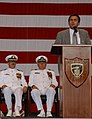 US Navy 030515-N-0780F-099 U.S. Ambassador to Greece, The Honorable Thomas J. Miller, speaks at a change of command ceremony where Capt. Stephen B. Sale relieved Capt. J. Stephen Hoefel as Commanding Officer, NSA Souda Bay.jpg