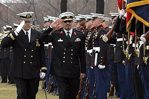 Kuwait Naval Force -  Kuwait Naval Force Chief Combat Commander Major General Al-Mulla conducts a troop inspection during a full honor welcome ceremony on board the Washington Navy Yard on February 15, 2005