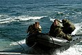 US Navy 051207-N-9698C-061 U.S. Marines assigned to Camp Pendleton, practice rapid deploy and egress maneuvers from a Combat Rubber Inflatable Craft, (CRIC), off the coast of Southern California.jpg