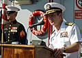 US Navy 061203-N-4205W-005 U.S. Navy Rear Adm. Allen G. Myers speaks during the ceremony where he assumed control of Combined Task Force 152 from Italian Rear Adm. Emilio Foltzer.jpg