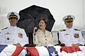 US Navy 090731-N-8467N-001 Cmdr. Robert A. Roncska, left, former first lady Laura Bush and Cmdr. James L. Gray listen to the remarks of guest speaker, retired Capt. Karl M. Hasslinger, during a change of command ceremony.jpg