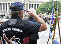 US Navy 100529-N-4178C-002 Lt. Cmdr. Pete Zaleski (ret.) renders a salute during colors at the Rolling Thunder wreath-laying ceremony at the U.S. Navy Memorial.jpg