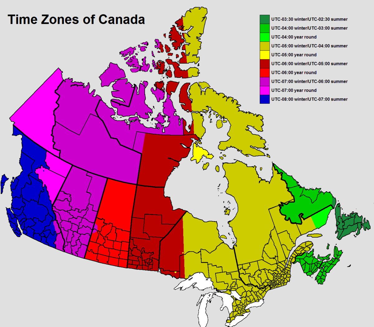 Time In Canada Wikipedia - Map showing us time zones