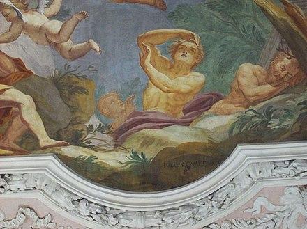 Udine: palazzo Attimis-Maniago - particolare dell'affresco, s'intravede la firma del pittore