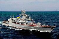 Ukrainian navy frigate Hetman Sahaydachniy (26743398421).jpg