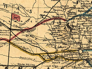 Central Branch Union Pacific Railroad - Map showing the Central Branch and Eastern Division (both yellow) meeting near Clay Center, Kansas