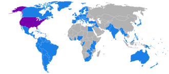 Extradition law in the United States - The United States (shown in purple) has extradition treaties with the countries shown in light blue