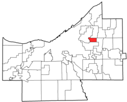Location of University Heights in Cuyahoga County