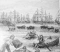 Uso tardío de balsas de cuero de lobo marino en la exportación salitrera. Tarapacá 1890.png