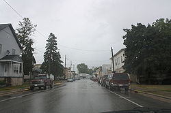 Looking east at downtown Valders