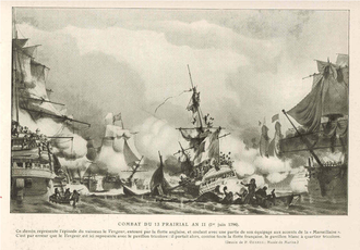 Atlantic campaign of May 1794 - The sinking of the Vengeur du Peuple, engraving by P. Ozanne
