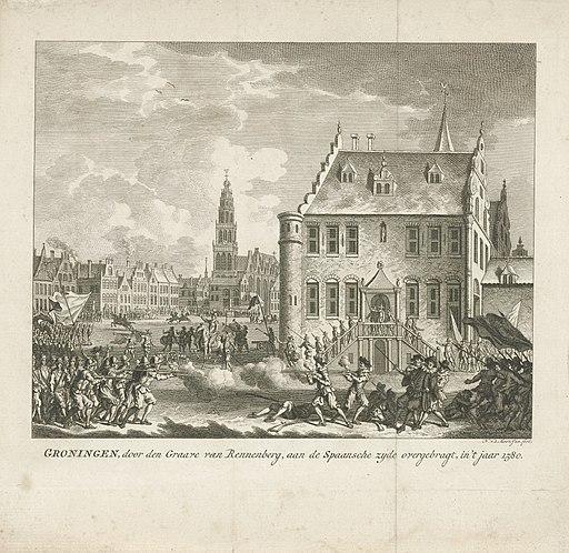 Verraad van de graaf van Rennenberg, 1580 Groningen, door den Graave van Rennenberg, aan de Spaansche zyde overgebragt, in 't jaar 1580 (titel op object), RP-P-1933-325