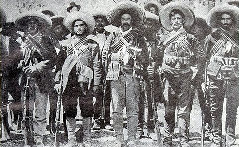 Pancho Villa (center) in December 1913, when his Division del Norte of the revolutionary Constitutionalist Army was fighting dictator Victoriano Huerta Villa toma.jpg