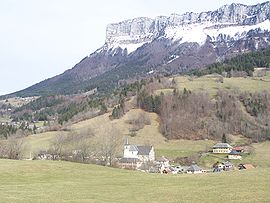 View of Entremont-le-Vieux behind the Mont Granier