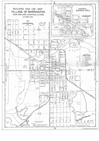 "Barrington, Illinois - A ""Building and Use Map"" of the village as it existed in October 1953. This map, with dots representing individual houses, was based on 1939 and 1949 aerial maps of the area as well as field inspections by then Village Trustee John H.D. Blanke."