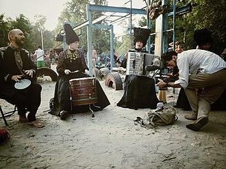 Vincent Moon - Vincent Moon (right) recording Ukrainian band Dakha Brakha in Kyiv, August 2012