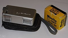 Vintage Minolta-16 Subminiature Spy-Type Film Camera WithTripod Adapter, Made in Japan (10268847806).jpg