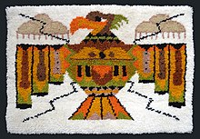 Late 20th Century Thunderbird Latch Hooked Rug. Collection Of Bill  Volckening, Portland, Oregon.