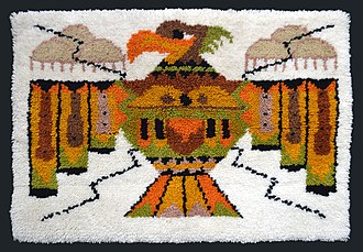 Rug hooking - Late 20th century Thunderbird latch hooked rug. Collection of Bill Volckening, Portland, Oregon.
