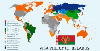 Visa policy of Belarus - Image: Visa policy of Belarus