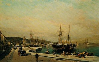 Volos - The port of Volos by Constantine Volanakis (c.1875).