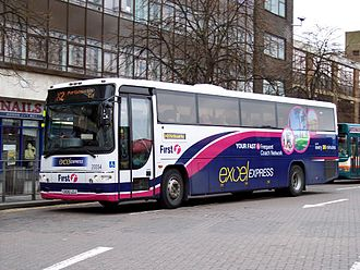 Volvo B7R - Volvo B7R with Plaxton coach body in Cardiff, United Kingdom.