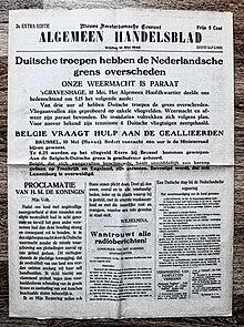 "Voorpagina Nederlands dagblad ""Algemeen Handelsblad"" 10. mai 1940.jpg"