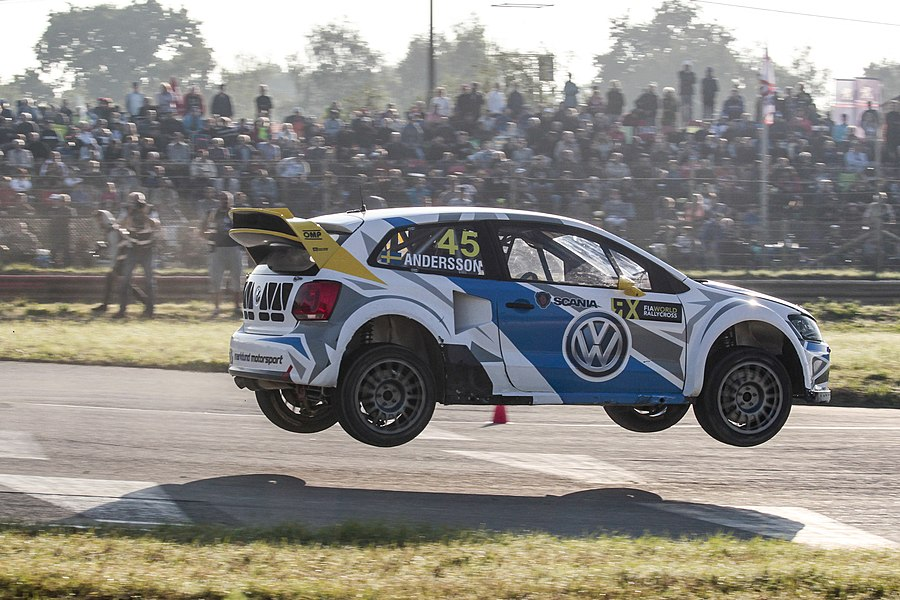 P-G Andersson in his VW Polo R Supercar at Round 9 of the 2015 FIA World Rallycross Championship at Circuit de Lohéac, France.
