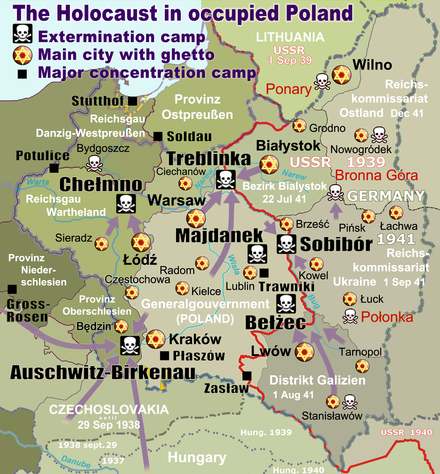 Map of the Holocaust in German occupied Poland with deportation routes and massacre sites. Major ghettos are marked with yellow stars. Nazi extermination camps are marked with white skulls in black squares. The border in 1941 between Nazi Germany and the Soviet Union is marked in red. WW2-Holocaust-Poland.PNG