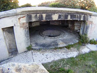 "Henry Head Battery - 6"" gun emplacement from the rear exterior of the fortification"