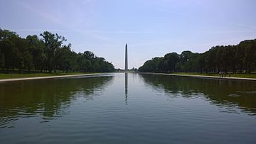 Washington Monument with Lincoln Memorial Reflecting Pool 2014-06-08.jpg