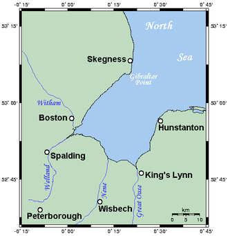 The Wash - Map of the Wash and neighbouring areas