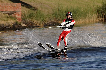 A person waterskiing on the Yarra River in Melbourne, Australia
