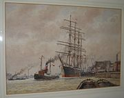 Watercolour The Pamir Sails from Wapping